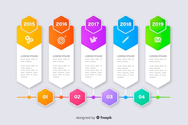 Marketing charts with steps collection template