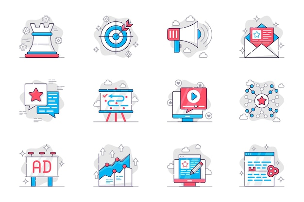 Marketing concept flat line icons set successful business promotion strategy for mobile app