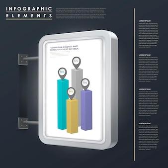 ライトボックス要素とマーケティングコンセプトのインフォグラフィックテンプレートデザイン