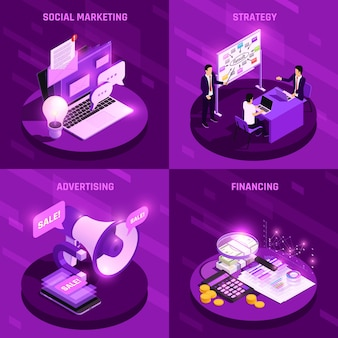 Marketing concept isometric glow design concept with various electronic devices vector illustration