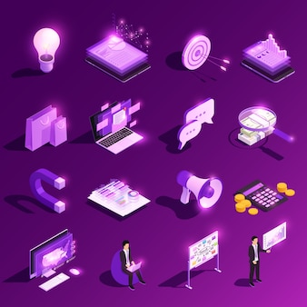 Маркетинговая концепция изометрической свечение значок набор и финансовые пиктограммы с человеческими персонажами векторная иллюстрация