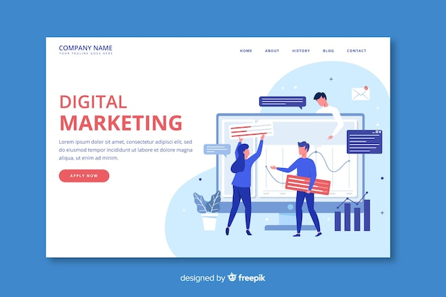 Marketing concept landing page template