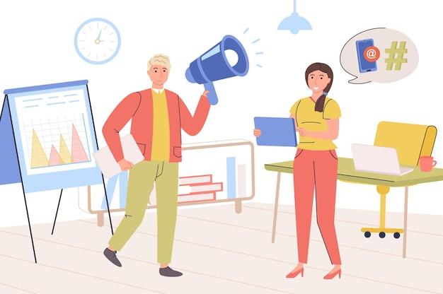마케팅 개념 남성과 여성이 고객을 유치하는 광고 캠페인을 만드는