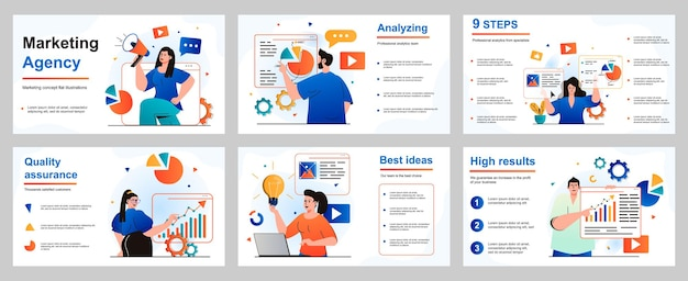 Marketing concept for presentation slide template marketers and analysts work at agency