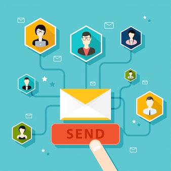 Marketing concept of running email campaign, email advertising, direct digital marketing.