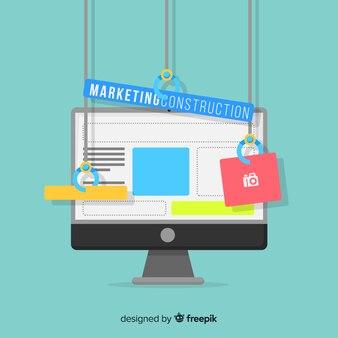 Marketing construction flat background