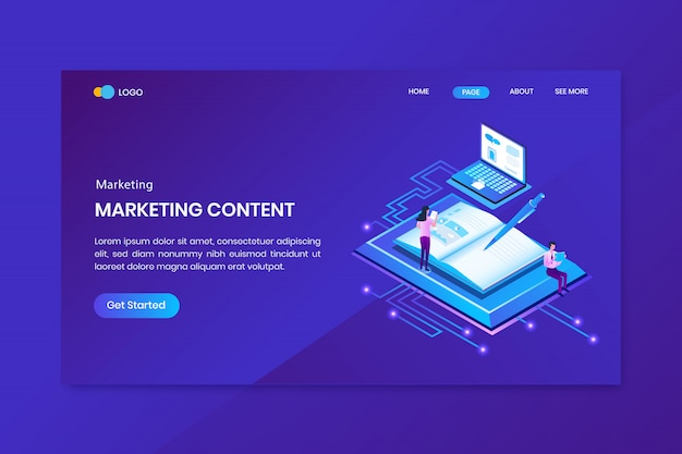 Marketing creator isometric concept landing page