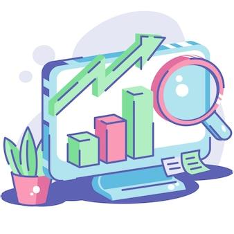 Маркетинговая диаграмма и аналитика на компьютере Premium векторы