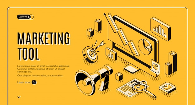 Marketing e-commerce, data analysis tool isometric web banner.