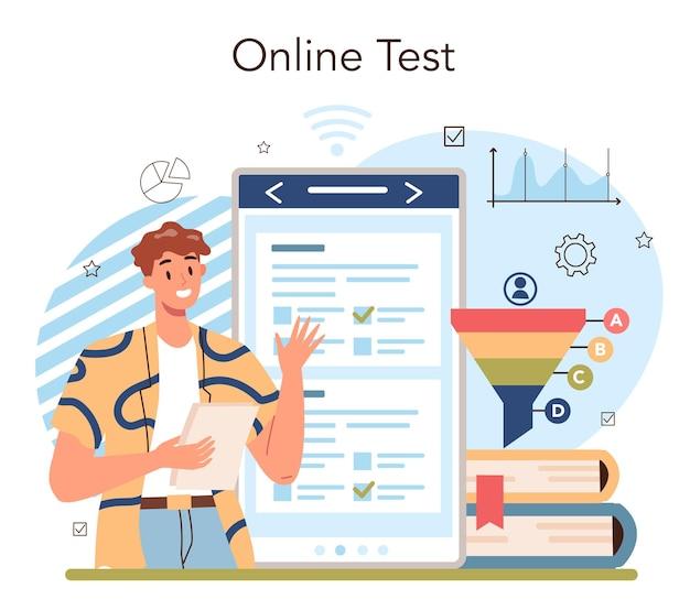 マーケティング教育学校コースのオンラインサービスまたはプラットフォーム。ビジネスプロモーション、顧客コミュニケーション、製品広告。オンラインレッスン、テスト、相談、ウェブサイト。ベクトルイラスト
