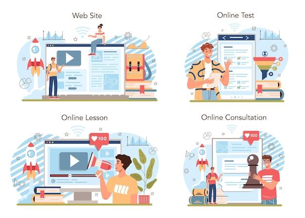 マーケティング教育学校コースのオンラインサービスまたはプラットフォームセット。ビジネスプロモーション、顧客コミュニケーション、製品広告。オンラインレッスン、テスト、相談、ウェブサイト。ベクトルイラスト