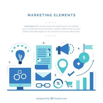 Sfondo di elementi di marketing in stile piano