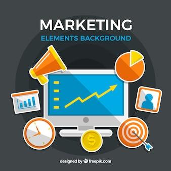 Фон элементов маркетинга в плоском стиле