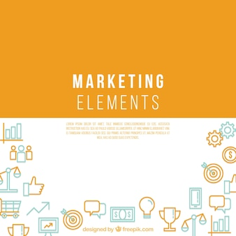 Marketing elements background with space in middle