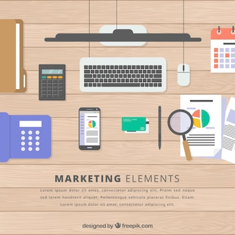 Marketing elements background with top view of workspace