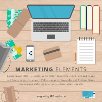 Marketing elements background with workspace