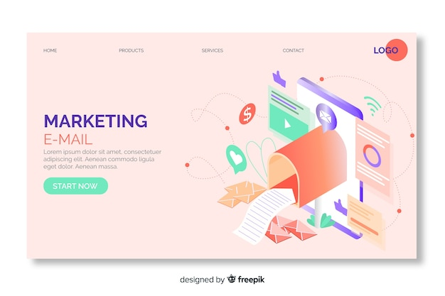 Marketing email isometric landing page