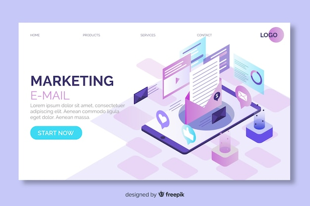 Marketing email landing page in isometric design