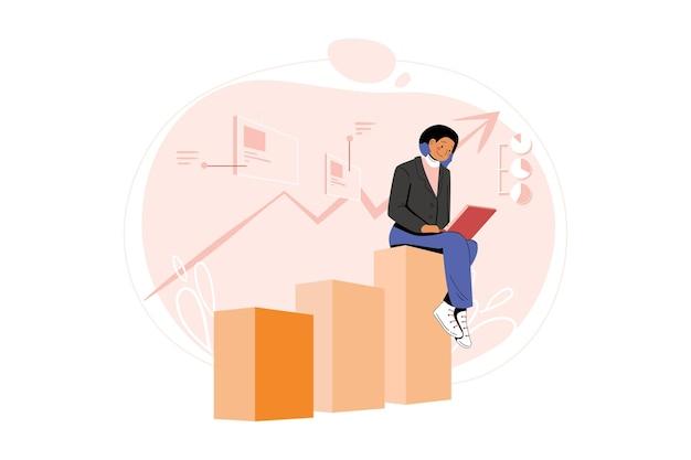 마케팅 직원 분석 마케팅 데이터 일러스트레이션