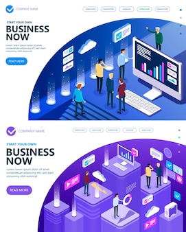 Marketing and finance vector isometric concept