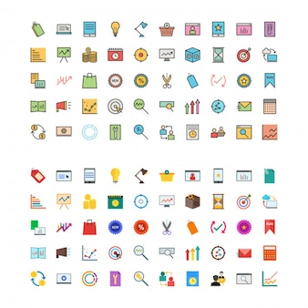 Marketing Flat and Linefilled 100 Icons Set