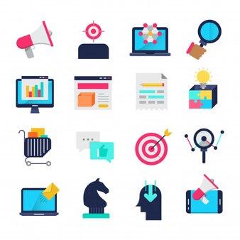 Marketing flat icons
