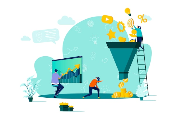 マーケティングの目標到達プロセスのコンセプトで、状況に応じて人のキャラクターを