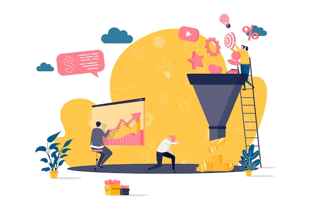 Marketing funnel flat concept with people characters  illustration