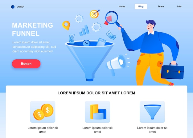Marketing funnel flat landing page. marketer researching data web page.