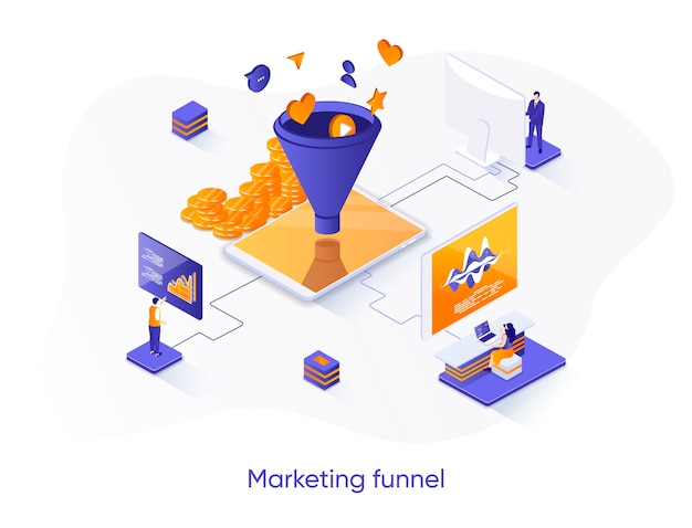 Marketing funnel isometric   illustration with people characters