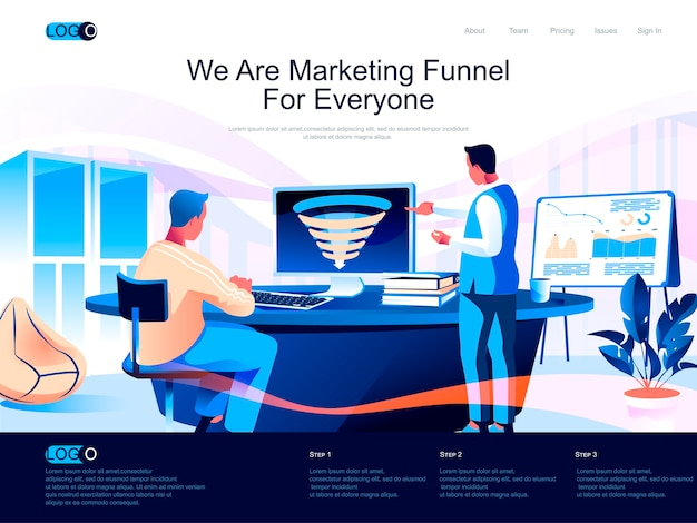 Marketing funnel isometric landing page with flat characters situation