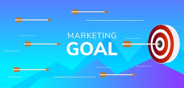 Marketing goal illustration arrow hitting target