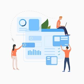 ビジネスソリューションフラットアイコンに取り組んでいるマーケティンググループ