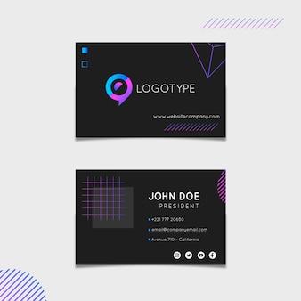 Шаблон маркетинговой горизонтальной визитной карточки