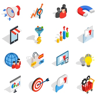 Marketing icons in isometric 3d style. media set collection isolated vector illustration