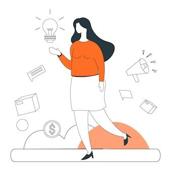 Marketing idea business illustration flat line