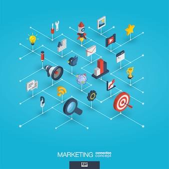 마케팅 통합 3d 웹 아이콘. 디지털 네트워크 아이소 메트릭 개념