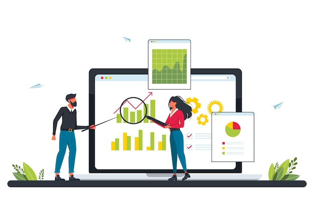 Marketing investment, demand planning, digital auditing concept with tiny people. accounting. business plan, finance management, digital sales, revenue metaphor. concept for website audit, review