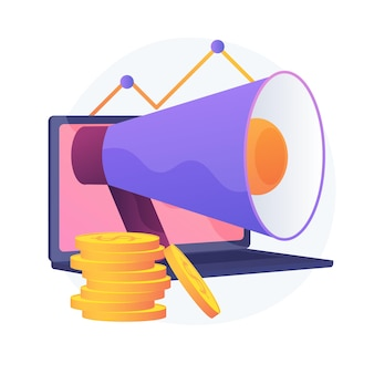Marketing investment. profit, revenue, income. golden coins stack, laptop and megaphone. business funding. savings and earnings growth.