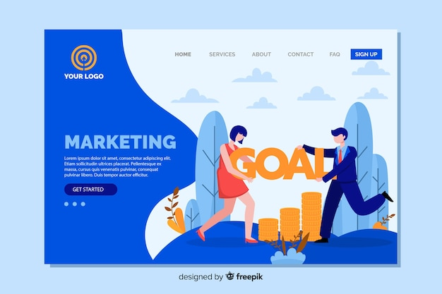 Marketing landing page flat design