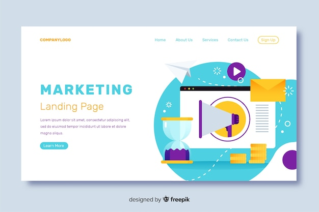 Marketing landing page flat design