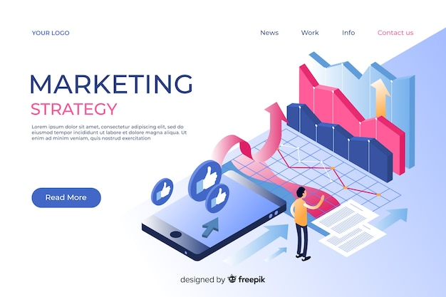 Маркетинговая целевая страница в изометрическом стиле