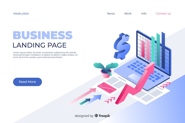Marketing landing page in isometric style