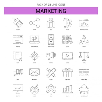 Marketing line icon set - 25 dashed outline style