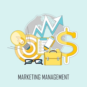 Marketing management concept in flat line style
