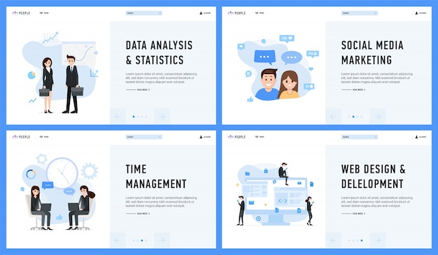 Marketing management web design data analysis and statistics set