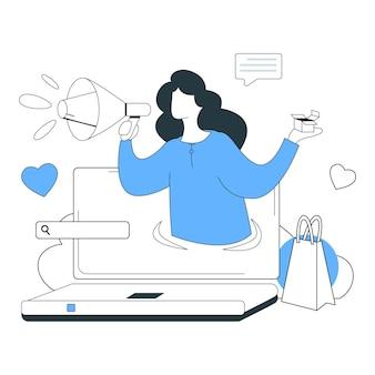 Маркетинг онлайн иллюстрации плоская линия