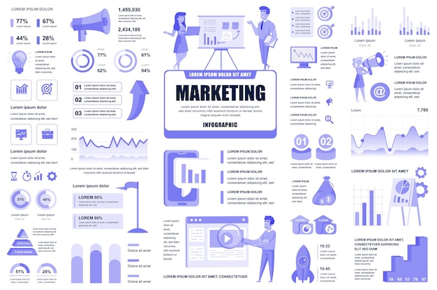 Marketing and promo infographic elements different charts diagrams workflow flowchart