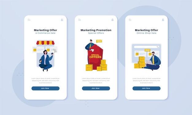 Marketing promotion on onboard screen illustration concept