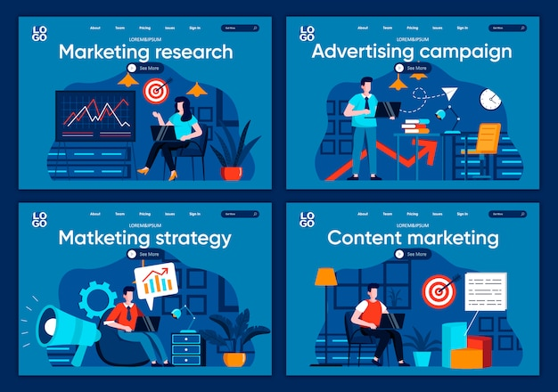 Marketing research flat landing pages set. marketers analyze data and doing presentation scenes for website or cms web page. advertising campaign, marketing content and strategy illustration.